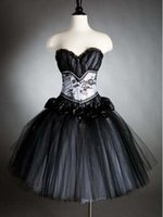 Wholesale Close Black Gothic Corset Prom Dress Homecoming Gowns