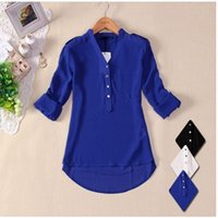 One Sleeve women clothing - Cheap Summer New Women long Sleeve Chiffon Shirt women clothing