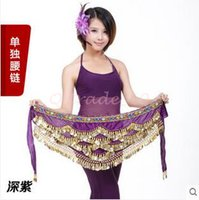 Wholesale 8lot CCA3394 High Quality Candy Color Belly Dance Costume Hip Scarf Waistband Wrap Golden Coins Belt Velvet Skirt Dress Belly Dance Belt