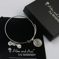 bags copper sets - High quality mm diameter silver plated alex and ani Initial letter O Charm bracelet with box Drawstring bag