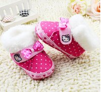 baby origin - 2015 Origin kitty pink bow waist plus thick hair baby soft bottom princess toddler warm casual boots drop shiping pair CL