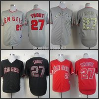 angeles usa - 2015 New Mike Trout Jersey Cool Base Los Angeles Angels Jerseys Stitched White Grey Red days to USA