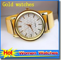 Wholesale Fashion Watches Gold Watches for women wrist watch gridding Quartz luxury women watches lady Dress Crystal watches as gift