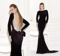 Cheap 2015 Long Sleeves Evening Gowns Black Backless Mermaid Beading Formal Dresses Tarik Ediz Party Dresses