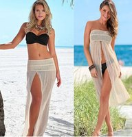 Wholesale New Women Sexy Holiday Bikini Cover Ups Summer Womens Split Swimwear Beach Skirt Swimsuit Cover Up Beach Dress XC