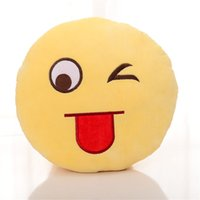 Wholesale Cushion Cute Lovely Emoji Smiley Pillows Cartoon Facial QQ Expression Cushion Pillows Yellow Round Pillow Stuffed Plush Toy