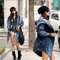 asymmetrical belted coat - Hot Sale Fashion Casual Fall Women Coat Long Sleeve Asymmetrical Length Denim Hooded Coats Jackets Solid Belt Tunic Jackets Tops