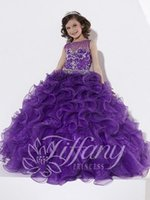 Wholesale 2016 New Crew Neck Girl s Pageant Dresses Purple Organza Ruffles Ball Gown Floor Length Flower Girl Dresses