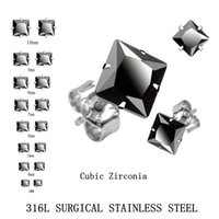 Cheap Stud Earrings, Brilliant Black Square Cut Cubic Zirconia Stainless Steel earrings - Sizes 3mm To 10mm(20pieces 10pairs)$250 Free DHL Fedex