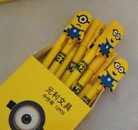 Wholesale LJJD3836 Despicable Me Minions Figures pen Cute Cartooni Lovely Despicable Me Minions Semiautomatic pen Black Gel pen With color box