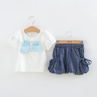 Wholesale Girl Summer Suit Lace Short Sleeved Top Dot Shorts Summer Bow White Set Baby Clothes Kids Suit