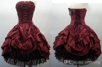 Wholesale 2015 Hot Sale Strapless Corset Back Short Ball Gown Layered Taffeta Tulle Gothic Wedding Dresses Burgundy and Black Party Prom Dress