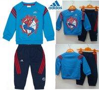 Wholesale children shampooers jogging Spider Man tracksuits sport set T shirt pant kids Boys Girl Spring autumn clothes Suit