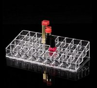 acrylic lip gloss display holder - Crystal clear acrylic lipstick holder Desktop Grid finishing nail polish lip gloss mascara display storage box