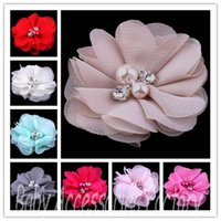 fabric flowers - 2014 Novelty Chiffon Pearl Rhinestone Flowers Artificial Fabric Flowers Hair Accessories Christmas Hair Headbands Flower Photography Props