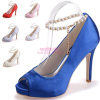 beautiful shoes - Beautiful Blue Wedding Bridal Shoes For Brides Bridesmaids Pearls Satin Stiletto Peep Toe Cheap Ladies Evening Party Dress Pumps Sandals