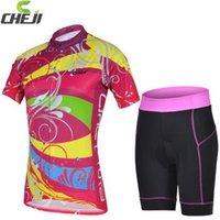D-6 CheJi 2014 Nouvelle qualité Cyling Vêtements Femmes rouge rose Cyclisme Jersey et Shorts Set