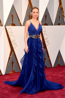 award belts - 2016 Brie Larson th oscard awards Celebrity Dresses A Line With Ruffles Belt Spaghetti Sweep train Blue Organza Formal Evening Party Gowns