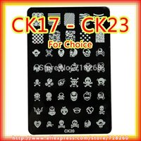 Wholesale Skull Skeleton Konad Plates Stamping Nail Art Retail CK17 CK23 For Choice cm cm Stencil Metal Plate Image For Nail