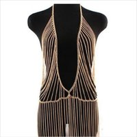 asian skirt - Silver Gold Body Chains Fashion Multi Curb Chain Metal Siamesed Skirt Tassel Body Chain Belly Chain Harness Pendants Jewelry for Women