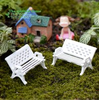 park bench - White park bench seat child decorative small ornaments material CJ02