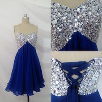affordable homecoming dress - Sequins Short Royal Blue Prom Dresses Crystals Sweetheart Chiffon Empire Lace up Real Image Spring Sexy Back Homecoming Gown Affordable