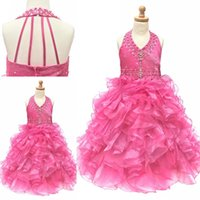beautiful waists - 2015 Newest Design Girls Pageant Dresses Beautiful A Line Halter Backless Natural Waist Sleeveless Bead Ruffle Organza Handmade Pageant Gown