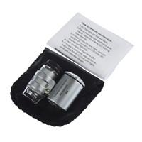 60x de mano mini bolsillo lupa lupa de joyero con conexión de luz LED de DHL