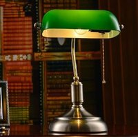Wholesale Fashion Library Table Lamp Bedside Desk Light Home Shade Lighting Glass Bedroom