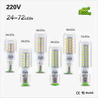 Wholesale Ultra Bright SMD5730 E27 E14 LED lamp W W W W W V angle SMD LED Corn Bulb light Chandelier LED LED LED LED LED
