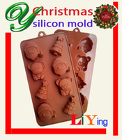 Wholesale Christmas silicon cake moulds fondant molds chocolate icing jelly pudding chocolate soap decorative D sugarcraft cake tools Baking Moulds