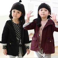 cotton tunic - Girls Hooded Tench Coat Cotton Warmth Zipper Tunic Wind Coat Autumn Winter Kids Cloth Jackets DHL EMS FEDEX ARMAE Free Red Navy Blue K2347