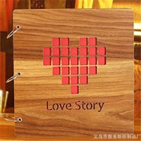 Wholesale High Quality Creative Commemorate DIY Love Story Pattern Wood Album inch for Wedding Album