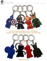 batman cartoon photos - 100pcs Superman Avenger Lego Batman key cover key ring Cartoon Character Keychains Kids Party gifts key holder llaveros key cap Accessories