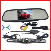 Wholesale Wireless Reverse Car RearView Backup Camera Kit quot TFT LCD Mirror monitor Parking Assistance Wireless Rearview kits