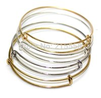 Wholesale Alex And Ani Expandable Wire Bangle Bracelet for DIY Beading Charms Gold Silver Bracelets Bangle Jewelry JJAL B202