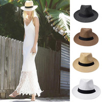 Wholesale Fashion Men Women Panama Hats Summer Contrast Color Straw Ribbon Pinched Crown Rolled Trim Floppy Hat Beach Cap Sombrero Paja