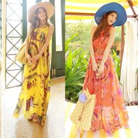 Wholesale 2015 Brand New Bohemia Style Summer Beach Women Sleeveless Chiffon Sundress Woman Casual Dresses