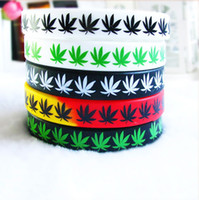 printed silicone bracelet - Leaf Jamaica Weed Bracelet Printed Hip Hop Silicon Wristband Promotion Gift Silicon Wristband