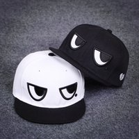 Wholesale Kerea Cute Black and White Cartoon Eyes Hip hop Embroidery Snapback Baseball Hat Cap Sun Hat for Male and Female Couple