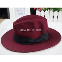 Wholesale Wool Mens Womens VTG Felt Trilby Hat Gangster Fedora Size cm Bow Red Black