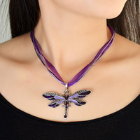 Wholesale Boho Jewelry Butterfly Pendant Necklace Colares Femininos Colors Rhinestone Braided Rope Statement Necklace for Women