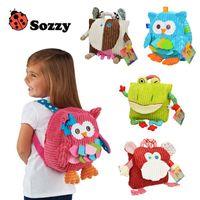 al por mayor suave vaca de juguete-Sozzy lindo niño de felpa de 25 cm mochilas Animal Figura Bolsa de Niños Niñas Niños regalos del búho de juguete Vaca rana mono mochila