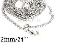 al por mayor las cadenas del collar de colores-24《》 de 2mm plata mate/níquel plateado Color 100piece/lot / frenar el cifrado de 60cm collar cadena collar