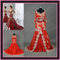 Wholesale Luxury Long Sleeve Evening Dresses Lace Applique Mermaid ball gown Arabic Jajja couture Dubai Abaya Real Image Sheer Hot Red Gown