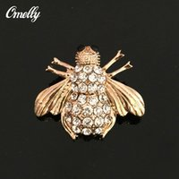 Wholesale Men Smart Gold Plated Rhinestone Crystal Bee Brooches Pins Lapel Pin Animal Diamante Wedding Bouquest Brooch Pin Jewelry