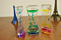 Wholesale Transparent glass double colored oil droplets dynamic oil leakage of an hourglass timer holiday gift