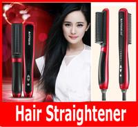 China Red Ceramic 2015 KD-388 Hair Straightener Hair Straighten Comb Tourmaline Ceramic Iron Kingdom Brand Hair Styling Tool Brush Flat Iron Free shipping