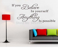 Wholesale believe in yourself home decor creative quote wall decal decorative adesivo de parede removable vinyl wall sticker