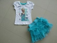 Cheap Summer Dairy queen Girl Clothing Tutu Skirt Set New Arrival Elsa Princess picture T Shirt + Skirt 2pcs Baby Suit Fit 2-7Age Kids Set WD273